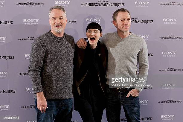 Director David Fincher actress Rooney Mara and actor Daniel Craig attend 'The Girl With The Dragon Tatoo' Photocall at Villamagna Hotel on January 4...