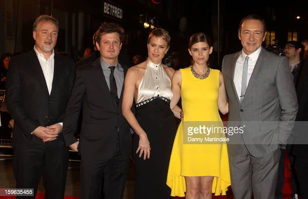 Director David Fincher Beau Willimon Robin Wright Kate Mara and Kevin Spacey attend the red carpet premiere for the launch of Netflix Original Series...