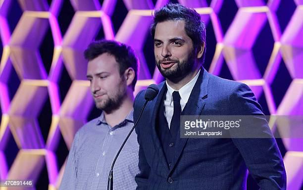 Director David Gelb and filmmaker Diego Bunuel speak at the Tribeca Film Festival Awards Night at Spring Studios on April 23 2015 in New York City