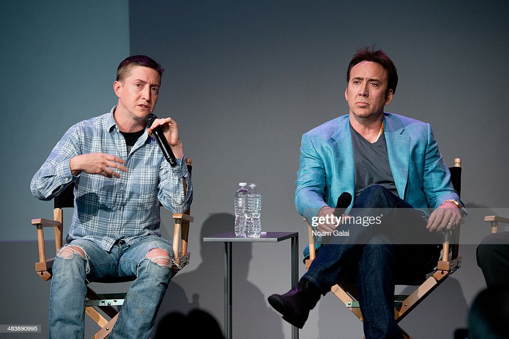 Director David Gordon and actor Nicolas Cage attend 'Meet The Filmmakers' at Apple Store Soho on April 10, 2014 in New York City.