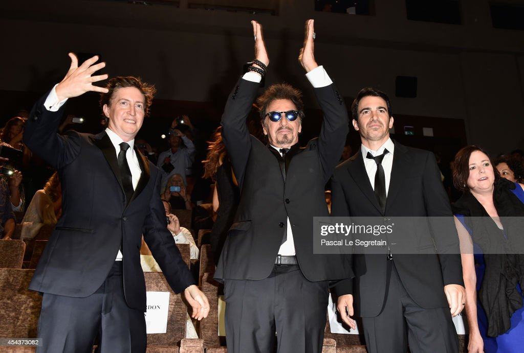 Director David Gordon Green and actors Al Pacino and Chris Messina attend the 'Manglehorn' premiere during 71st Venice Film Festival on August 30...