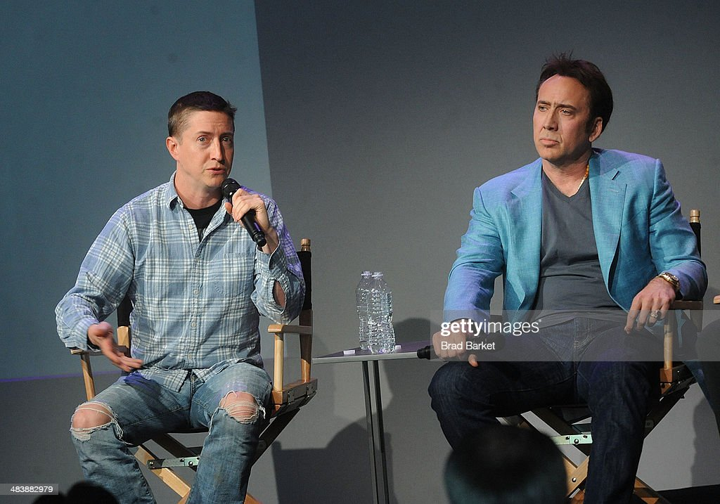Director David Gordon Green(L) and Nicolas Cage attends 'Meet The Filmmakers' at Apple Store Soho on April 10, 2014 in New York City.