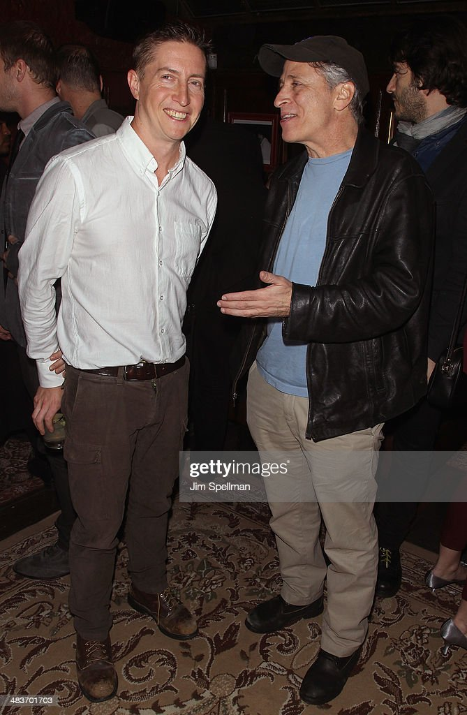 Director David Gordon Green and tv personality Jon Stewart attend the Lionsgate Roadside Attractions with The Cinema Society premiere of 'Joe' after...