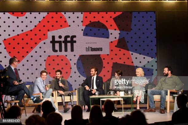Director David Gordon Green Jeff Bauman actors Jake Gyllenhaal Tatiana Maslany Miranda Richardson and screenwriter John Pollono attend the 'Stronger'...