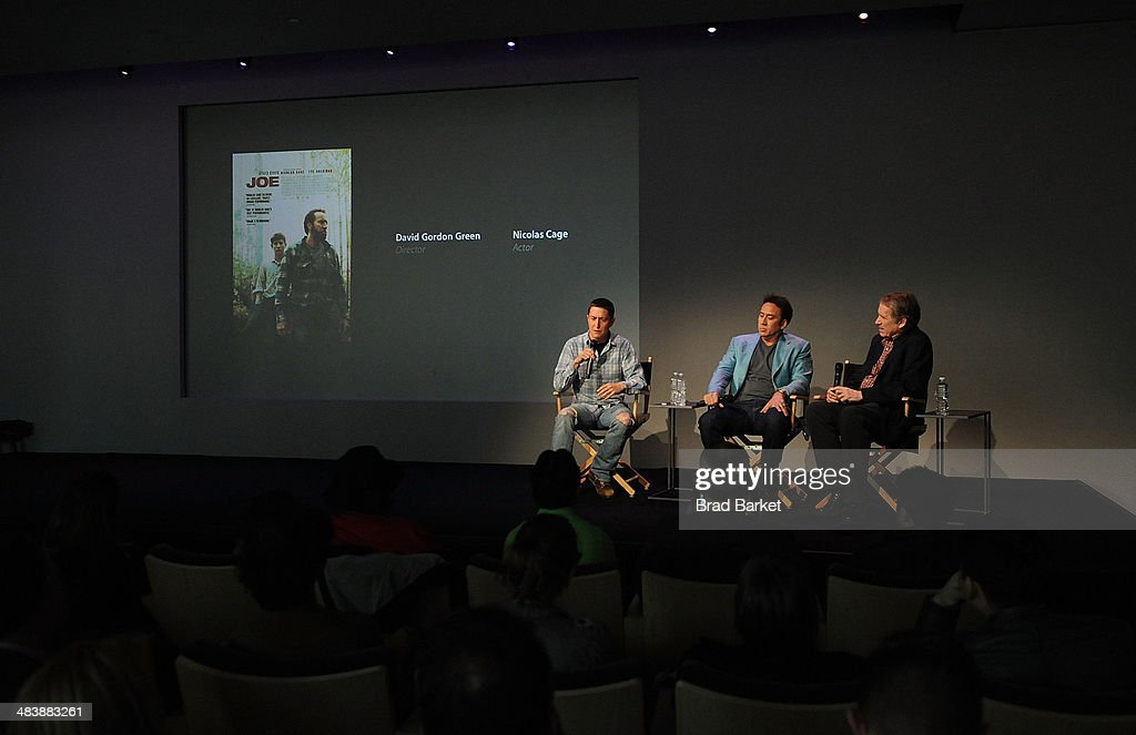 Director David Gordon Green, Nicolas Cage and Peter Travers attend 'Meet The Filmmakers' at Apple Store Soho on April 10, 2014 in New York City.
