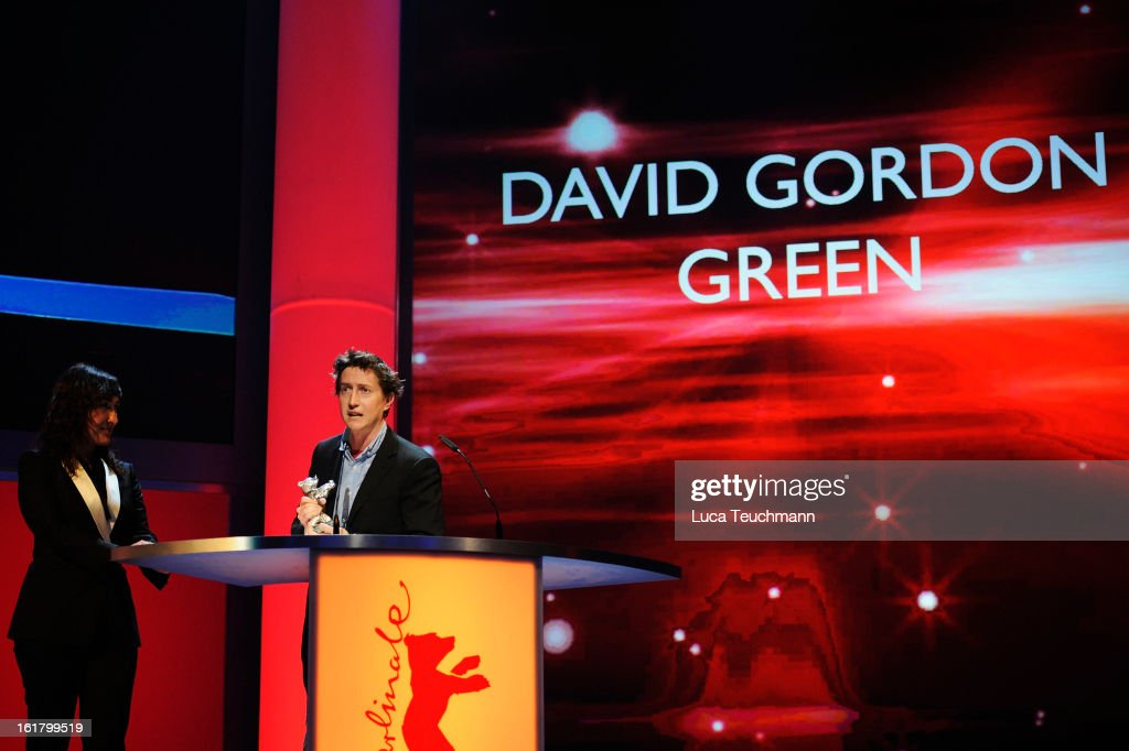 Director David Gordon Green receives the award as best director by Athina Rachel Tsangari at the Closing Ceremony during the 63rd Berlinale...