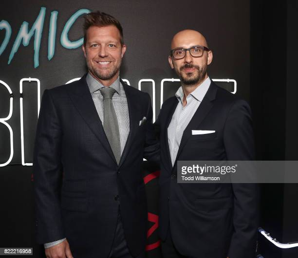 Director David Leitch and Focus Features Chairman Peter Kujawski attend the premiere Of Focus Features' 'Atomic Blonde' at The Theatre at Ace Hotel...