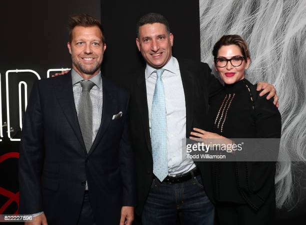 Director David Leitch Nick Meyer and Producer Kelly McCormick attend the premiere Of Focus Features' 'Atomic Blonde' at The Theatre at Ace Hotel on...