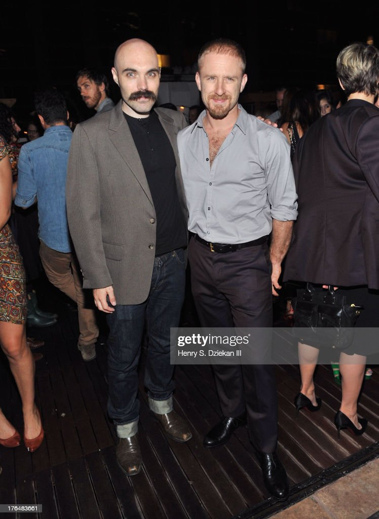 Director David Lowery and Ben Foster attend the Downtown Calvin Klein with The Cinema Society screening of IFC Films' 'Ain't Them Bodies Saints' after party at Refinery Rooftop on August 13, 2013 in New York City.