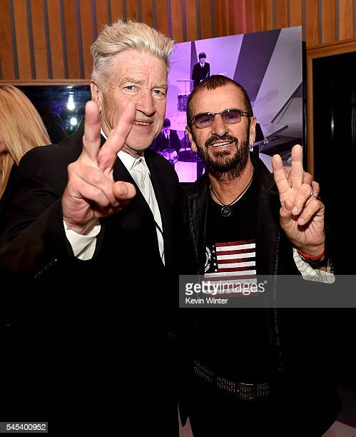 Director David Lynch and musician Ringo Starr appear at Ringo Starr's 'Peace Love' birthday celebration at Capitol Records on July 7 2016 in Los...