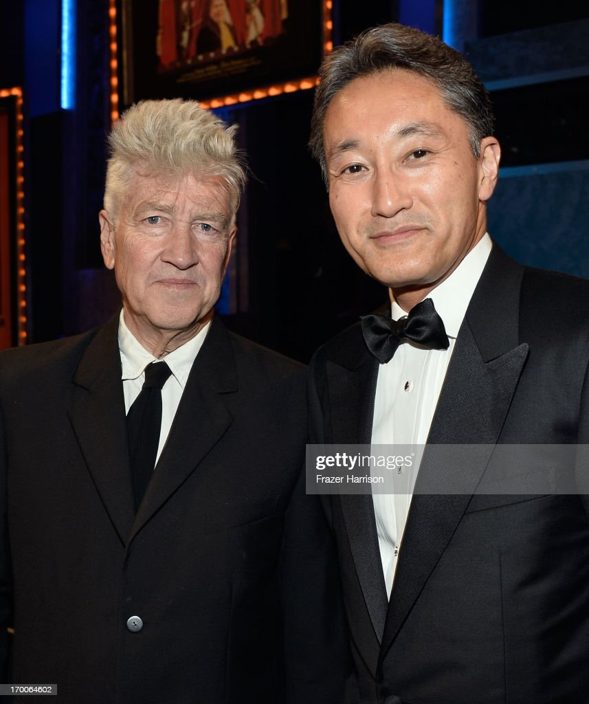 Director <a gi-track='captionPersonalityLinkClicked' href=/galleries/search?phrase=David+Lynch&family=editorial&specificpeople=224589 ng-click='$event.stopPropagation()'>David Lynch</a> (L) and Sony President <a gi-track='captionPersonalityLinkClicked' href=/galleries/search?phrase=Kazuo+Hirai&family=editorial&specificpeople=2377874 ng-click='$event.stopPropagation()'>Kazuo Hirai</a> attend the 41st AFI Life Achievement Award Honoring Mel Brooks at Dolby Theatre on June 6, 2013 in Hollywood, California. Special Broadcast will air Saturday, June 15 at 9:00 P.M. ET/PT on TNT and Wednesday, July 24 on TCM as part of an All-Night Tribute to Brooks.