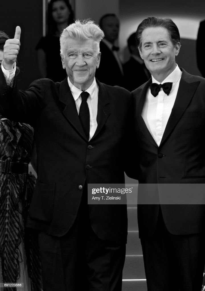 Director David Lynch (L) gives the thumbs up standing with actor Kyle MacLachlan at the 'Twin Peaks' screening during the 70th annual Cannes Film Festival at Palais des Festivals on May 25, 2017 in Cannes, France.