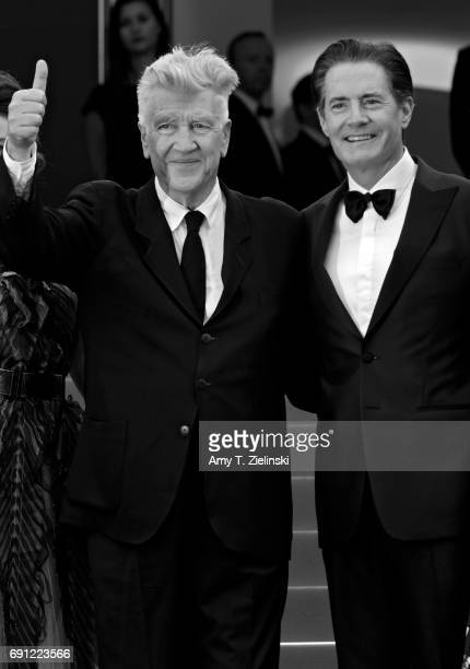 Director David Lynch gives the thumbs up standing with actor Kyle MacLachlan at the 'Twin Peaks' screening during the 70th annual Cannes Film...