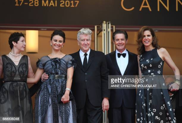 US director David Lynch his wife Emily Stofle US actor Kyle MacLachlan and his wife US producer Desiree Gruber and US executive producer Sabrina...