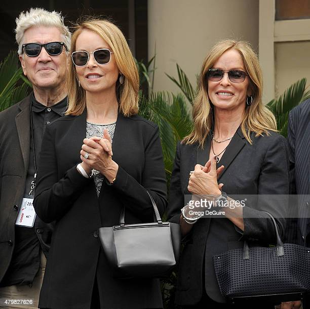 Director David Lynch Marjorie Bach and actress Barbara Bach attend Ringo Starr's birthday fan gathering at Capitol Records on July 7 2015 in...