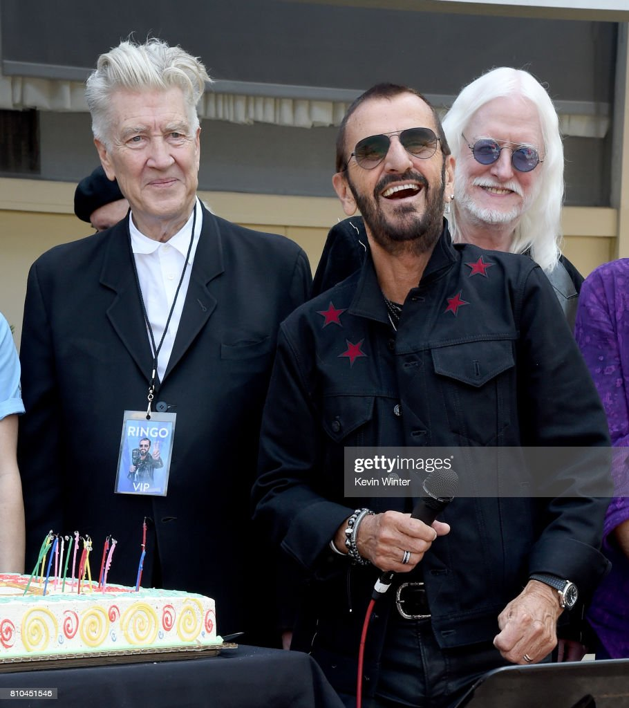 Director David Lynch, musician Ringo Starr and musician Edgar Winter appear at the 'Peace & Love' birthday celebration for Ringo Starr at Capitol Records on July 7, 2017 in Los Angeles, California.