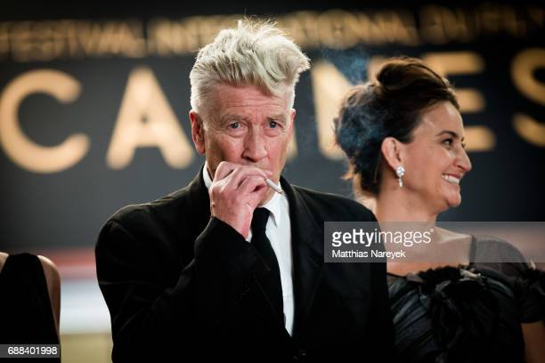 Director David Lynch smokes a cigarette as he attends the 'Twin Peaks' screening during the 70th annual Cannes Film Festival at Palais des Festivals...