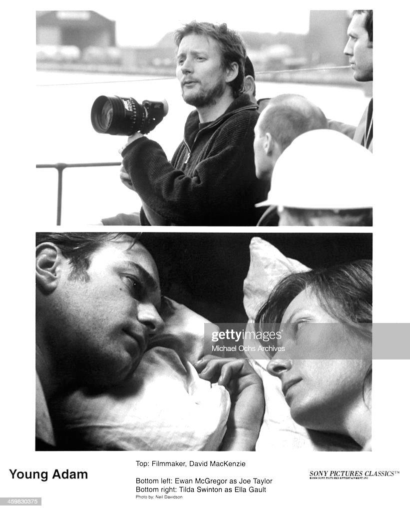 Director David Mackenzie on set actors Tilda Swinton and Ewan McGregor on set of the movie 'Young Adam ' circa 2003