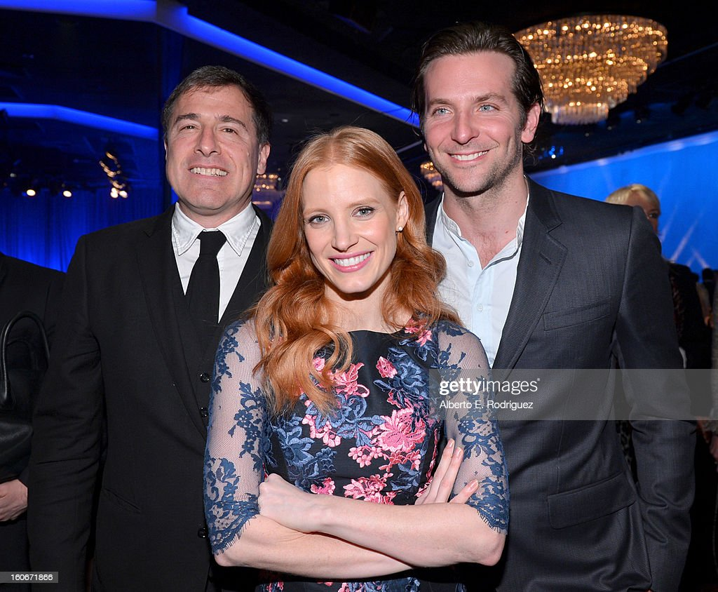 Director David O. Russell, actress Jessica Chastain and actor Bradley Cooper attend the 85th Academy Awards Nominations Luncheon at The Beverly Hilton Hotel on February 4, 2013 in Beverly Hills, California.