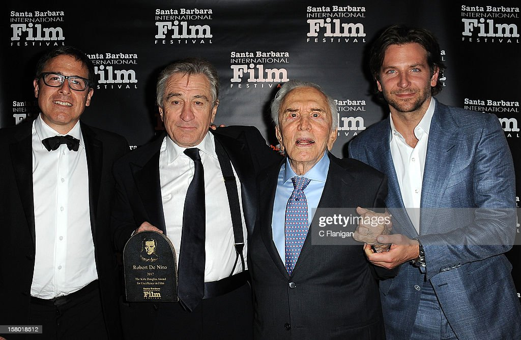 Director David O. Russell, and actors Robert De Niro, Kirk Douglas and Bradley Cooper attend the SBIFF's 2012 Kirk Douglas Award For Excellence In Film during the Santa Barbara Film Festival on December 8, 2012 in Santa Barbara, California.