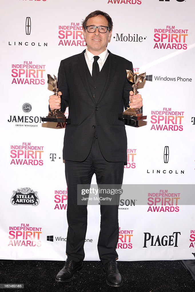Director <a gi-track='captionPersonalityLinkClicked' href=/galleries/search?phrase=David+O.+Russell&family=editorial&specificpeople=215306 ng-click='$event.stopPropagation()'>David O. Russell</a> poses with the Best Director award for Silver Linings Playbook during the 2013 Film Independent Spirit Awards at Santa Monica Beach on February 23, 2013 in Santa Monica, California.