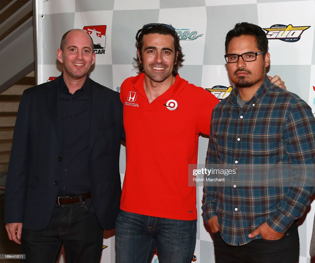 Director David Soren indycar driver Dario Franchitti and actor Michael Pena attends 'Turbo' Special Indy 500 Screening at Indiana State Museum on May...