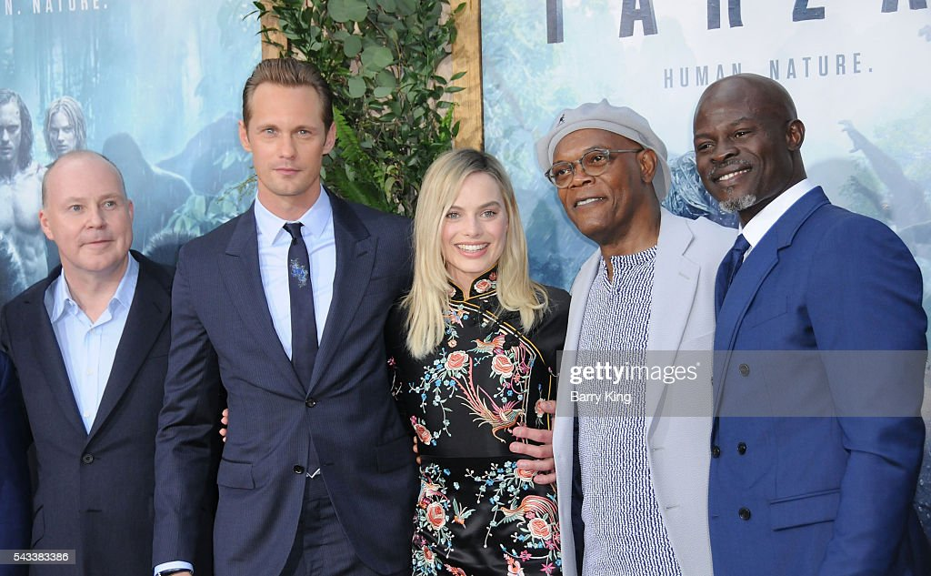 Director David Yates, Actor Alexander Skarsgard, actress <a gi-track='captionPersonalityLinkClicked' href=/galleries/search?phrase=Margot+Robbie&family=editorial&specificpeople=5781742 ng-click='$event.stopPropagation()'>Margot Robbie</a> and actors <a gi-track='captionPersonalityLinkClicked' href=/galleries/search?phrase=Samuel+L.+Jackson&family=editorial&specificpeople=167234 ng-click='$event.stopPropagation()'>Samuel L. Jackson</a> and <a gi-track='captionPersonalityLinkClicked' href=/galleries/search?phrase=Djimon+Hounsou&family=editorial&specificpeople=204469 ng-click='$event.stopPropagation()'>Djimon Hounsou</a> attend the premiere of Warner Bros. Pictures' 'The Legend Of Tarzan' at TCL Chinese Theatre on June 27, 2016 in Hollywood, California.