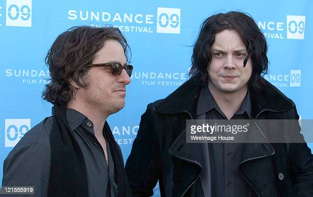 Director Davis Guggenheim and musician Jack White attend the premiere of 'It Might Get Loud' during the 2009 Sundance Film Festival at the Library...