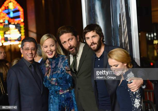 Director Dean Devlin with actors Abbie Cornish Gerard Butler Jim Sturgess and Talitha Bateman arrive for the Premiere Of Warner Bros Pictures'...