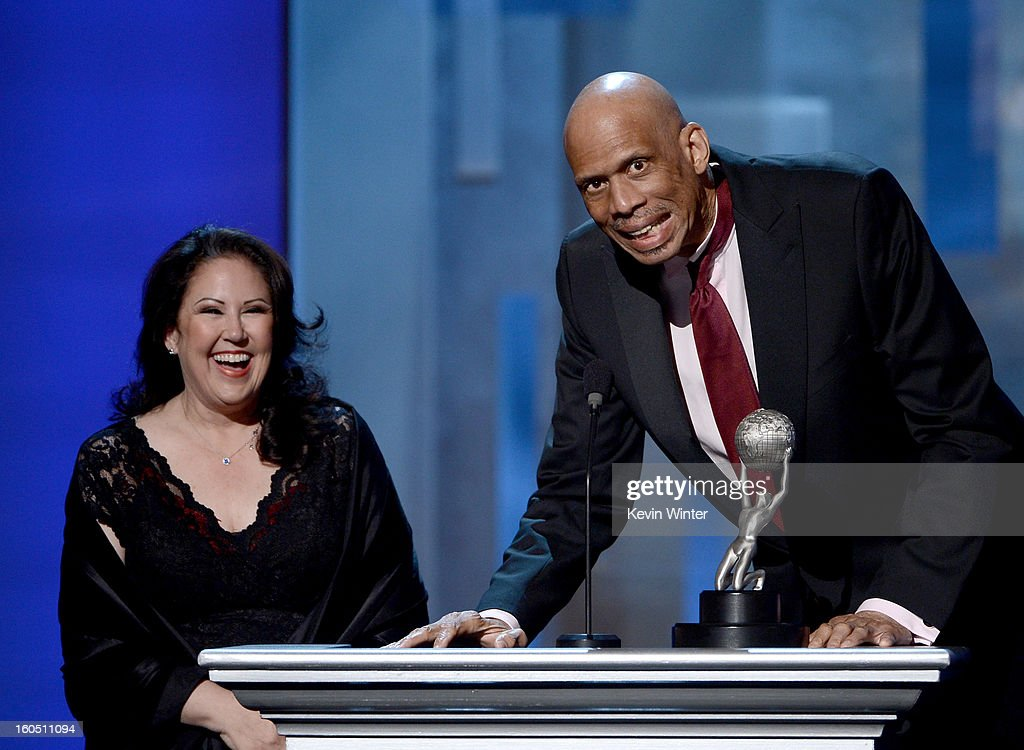 Director Deborah Morales and author <a gi-track='captionPersonalityLinkClicked' href=/galleries/search?phrase=Kareem+Abdul-Jabbar&family=editorial&specificpeople=206219 ng-click='$event.stopPropagation()'>Kareem Abdul-Jabbar</a> speak onstage during the 44th NAACP Image Awards at The Shrine Auditorium on February 1, 2013 in Los Angeles, California.