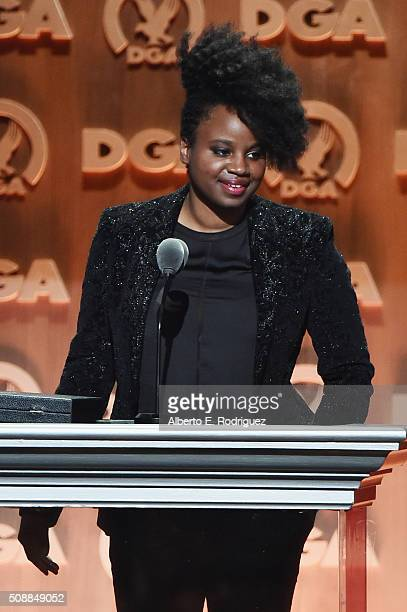 Director Dee Rees accepts the award for Outstanding Directorial Achievement in Movies for Television and MiniSeries for 'Bessie' onstage at the 68th...