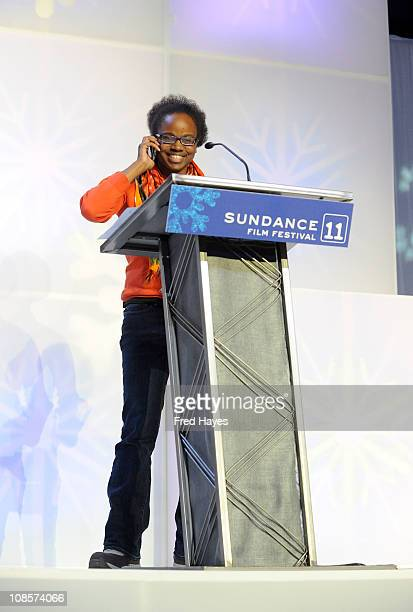 Director Dee Rees accepts the Excellence in Cinematography Award U S Dramatic on behalf of Bradford Young at the 2011 Sundance Film Festival Awards...