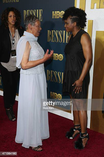Director Dee Rees and Beverly Ann Clarke granddaughter of Bessie Smith attend the 'Bessie' New York screening at The Museum of Modern Art on April 29...