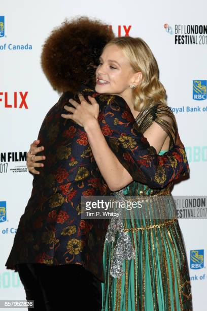 Director Dee Rees hugs actress Carey Mulligan as they attend the Royal Bank of Canada Gala European Premiere of 'Mudbound' during the 61st BFI London...