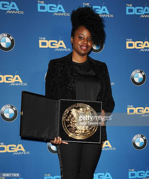 Director Dee Rees poses in the press room at the 68th annual Directors Guild of America Awards at the Hyatt Regency Century Plaza on February 6 2016...