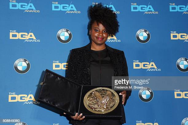 Director Dee Rees winner of the award for Outstanding Directorial Achievement in Movies for Television and MiniSeries for 'Bessie' poses in the press...