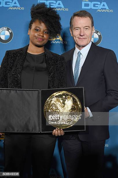 Director Dee Rees winner of the Outstanding Directorial Achievement in Movies for Television and MiniSeries Award for 'Bessie' and actor Bryan...