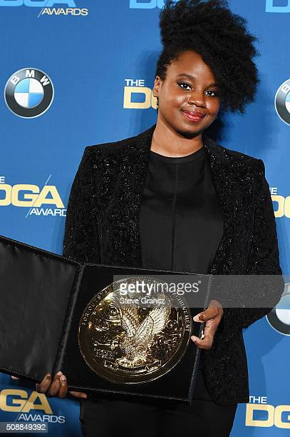 Director Dee Rees winner of the Outstanding Directorial Achievement in Movies for Television and MiniSeries Award for 'Bessie' poses in the press...