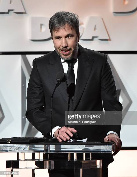 "Director Denis Villeneuve accepts the Feature Film Nomination Plaque for ""Arrival"" onstage during the 69th Annual Directors Guild of America Awards..."