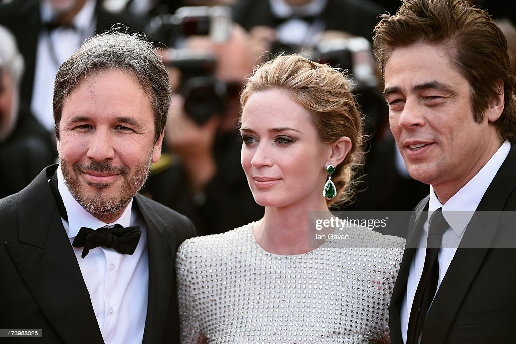 Director <a gi-track='captionPersonalityLinkClicked' href=/galleries/search?phrase=Denis+Villeneuve&family=editorial&specificpeople=6688941 ng-click='$event.stopPropagation()'>Denis Villeneuve</a>, actors <a gi-track='captionPersonalityLinkClicked' href=/galleries/search?phrase=Emily+Blunt&family=editorial&specificpeople=213480 ng-click='$event.stopPropagation()'>Emily Blunt</a> and <a gi-track='captionPersonalityLinkClicked' href=/galleries/search?phrase=Benicio+Del+Toro&family=editorial&specificpeople=203277 ng-click='$event.stopPropagation()'>Benicio Del Toro</a> attend the Premiere of 'Sicario' during the 68th annual Cannes Film Festival on May 19, 2015 in Cannes, France.