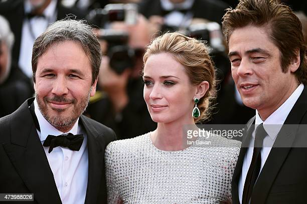 Director Denis Villeneuve actors Emily Blunt and Benicio Del Toro attend the Premiere of 'Sicario' during the 68th annual Cannes Film Festival on May...