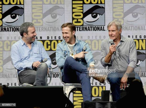 Director Denis Villeneuve actors Ryan Gosling and Harrison Ford attend the Warner Bros Pictures 'Blade Runner 2049' Presentation during ComicCon...