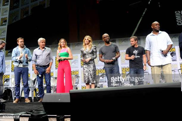 Director Denis Villeneuve actors Ryan Gosling Harrison Ford Ana de Armas Sylvia Hoeks and Lennie James and producers Andrew A Kosove and Broderick...