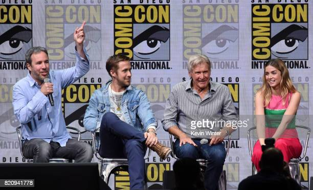 Director Denis Villeneuve actors Ryan Gosling Harrison Ford and Ana de Armas attend the Warner Bros Pictures 'Blade Runner 2049' Presentation during...