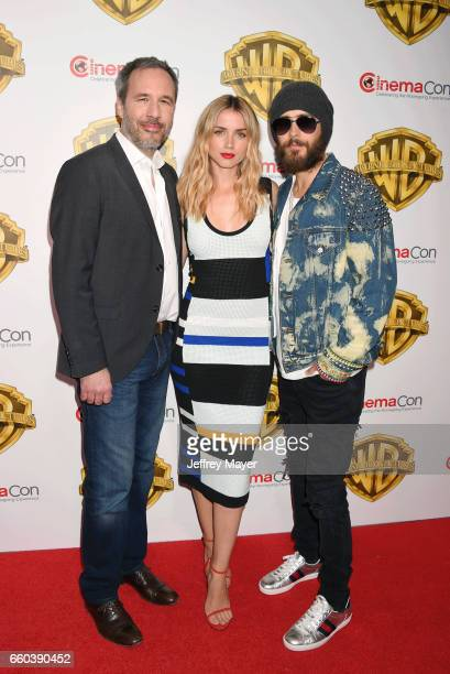 Director Denis Villeneuve actress Ana De Armas and actor Jared Leto arrive at the CinemaCon 2017 Warner Bros Pictures presentation of their upcoming...