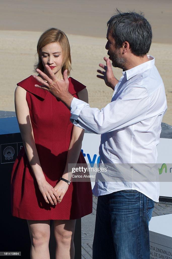 Director Denis Villeneuve and actress Sarah Gadon attend the 'Enemy' photocall during the 61th San Sebastian International Film Festival at the Kursaal Palace on September 21, 2013 in San Sebastian, Spain.