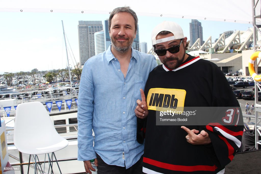 Director Denis Villeneuve (L) and host Kevin Smith on the #IMDboat at San Diego Comic-Con 2017 at The IMDb Yacht on July 21, 2017 in San Diego, California.