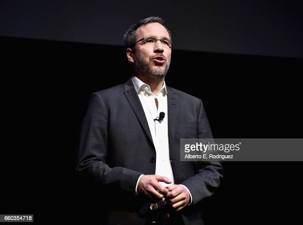 """Director Denis Villenueve onstage at CinemaCon 2017 Warner Bros Pictures Invites You to """"The Big Picture"""" an Exclusive Presentation of our Upcoming..."""