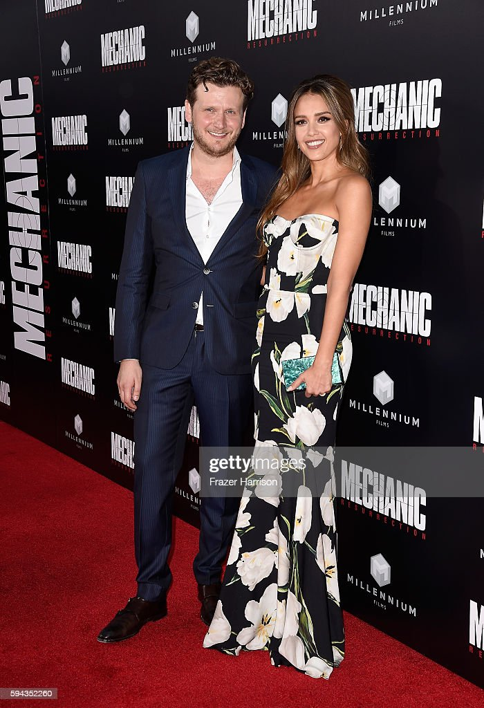Director Dennis Gansel and Jessica Alba arrive at the Premiere of Summit Entertainment's 'Mechanic Resurrection' at ArcLight Hollywood on August 22...