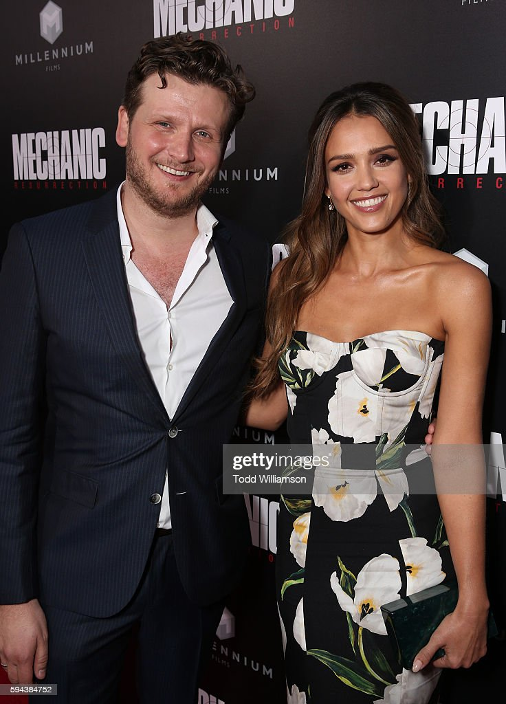 Director Dennis Gansel and Jessica Alba attend the Premiere Of Lionsgate Summit Premiere's 'Mechanic Resurrection' at ArcLight Hollywood on August 22...